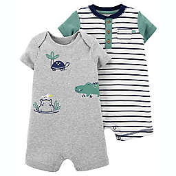 carter's® 2-Pack Turtle Rompers in Grey