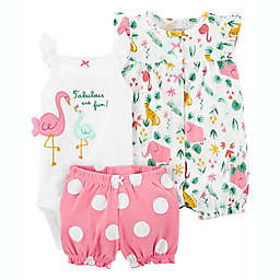 carter's® 3-Piece Fabulous Flamingo Bodysuit, Romper and Short Set in Pink/White