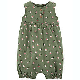 carter's® Floral Sleeveless Bubble Romper in Olive