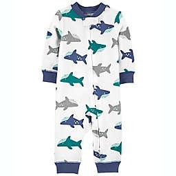 carter's® Shark Footless Zip-Up Sleep & Play Coverall in Blue/Grey