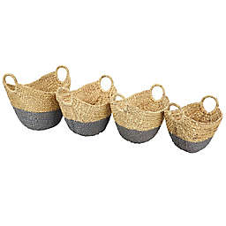 Water Hyacinth Two-Tone Storage Baskets (Set of 4)