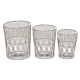 Ridge Road Décor Woven Metal Storage Baskets in Silver (Set of 3)