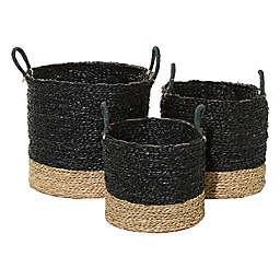 Ridge Road Décor Hand-Woven Storage Baskets in Black (Set of 3)