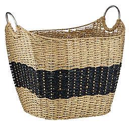 Ridge Road Décor Rectangular Wicker Storage Basket in Natural Brown/Black