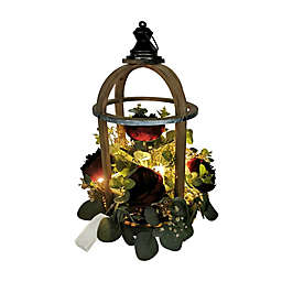 Bee & Willow™ Home 18-Inch Floral Arrangement in Wooden LED Lantern