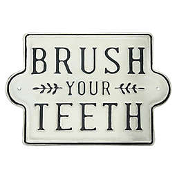 """Bee & Willow™ """"Brush Your Teeth"""" Metal Wall Art in Black/White"""