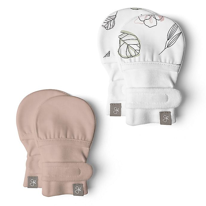 Alternate image 1 for goumi® Organic Cotton Size 0-3M 2-Pack Floral Rose Mitts in Pink