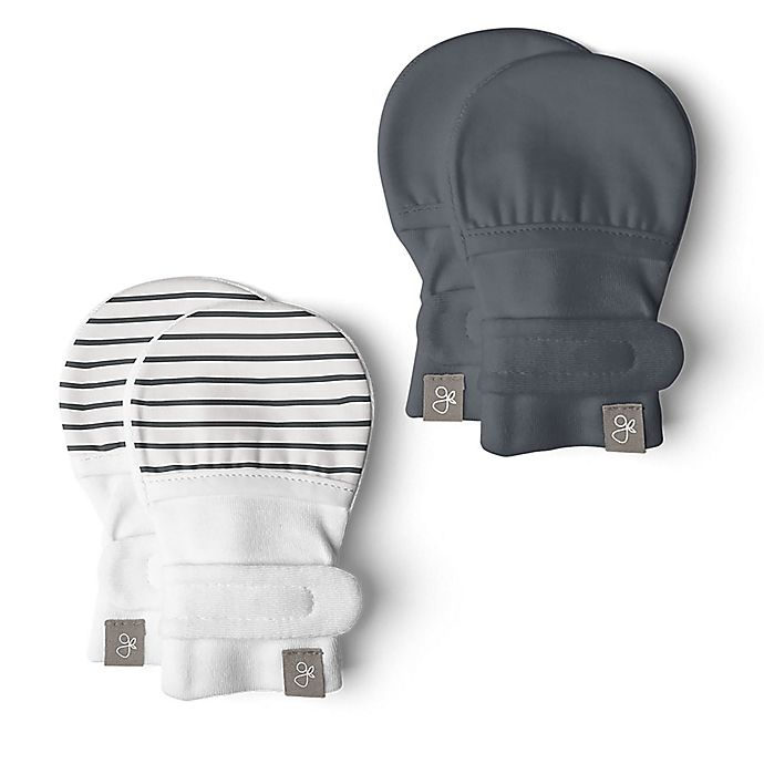 Alternate image 1 for goumi® Organic Cotton 2-Pack Midnight Mitts in Grey