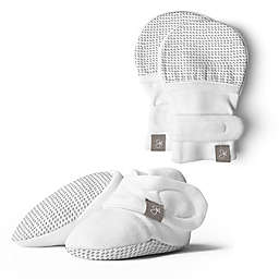 goumi Size 0-3M Bootie and Mitt Set in Drops Grey