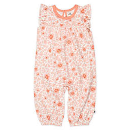 The Honest Company® Size 3-6M Flutter Sleeve Peach Papercut Floral Organic Cotton Coverall
