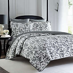 Laura Ashley® Amberley Reversible 2-Piece Twin Quilt Set in Black/White