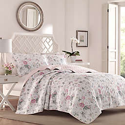 Laura Ashley® Breezy Floral Reversible Quilt Set in Pink/Grey