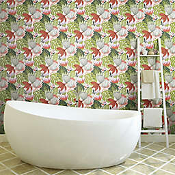 RoomMates® Retro Tropical Leaves Peel & Stick Wallpaper in Green/Red