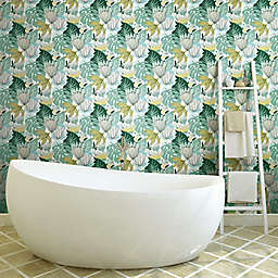 RoomMates® Retro Tropical Leaves Peel & Stick Wallpaper in Teal/Yellow