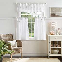 Martha Stewart Laguna Stripe Valance and Window Curtain Tier Pair Set in White