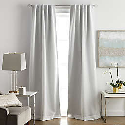 Martha Stewart Park Avenue Rod Pocket 100% Blackout Window Curtain Panels in White (Set of 2)