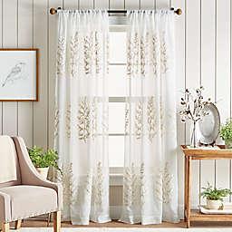 Martha Stewart Georgia Embroidery Rod Pocket Window Curtain Panels in Ivory (Set of 2)