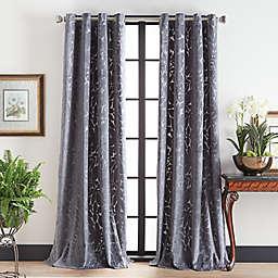 Martha Stewart 95-Inch Sherwood Velvet Grommet Window Curtain Panels in Grey (Set of 2)