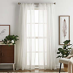 Martha Stewart Dot Embroidery 84-Inch Rod Pocket Window Curtain Panels in Champagne (Set of 2)