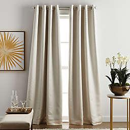 Martha Stewart Lynx Grommet 100% Blackout Window Curtain Panels in Ivory (Set of 2)