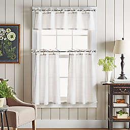 Martha Stewart Pinstripe Plaid Valance and Window Curtain Tier Pair Set