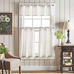Martha Stewart Pinstripe Plaid Valance and Window Curtain Tier Pair Set in White/Linen