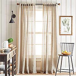 Martha Stewart Linen Stripe Rod Pocket/Back Tab Window Curtain Panels in Linen (Set of 2)