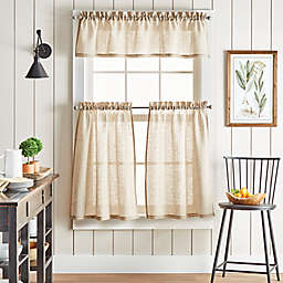 Martha Stewart Linen Stripe Valance and Window Curtain Tier Pair Set