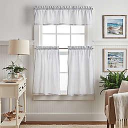 Martha Stewart Ticking Stripe Valance and Window Curtain Tier Pair Set