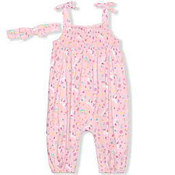 Nannette Baby® 2-Piece Unicorn Printed Coverall and Headband Set in Pink