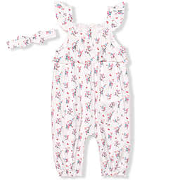 Nannette Baby® 2-Piece Floral Printed Coverall and Headband Set in White