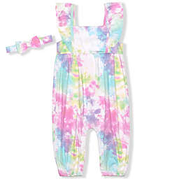 Nannette Baby® 2-Piece Tie-Dye Sleeveless Coverall and Headband Set