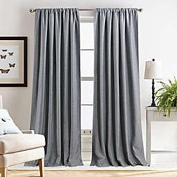 Martha Stewart Clarkson Rod Pocket Room Darkening Window Curtain Panels in Grey (Set of 2)