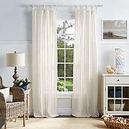 Martha Stewart Laguna Stripe Tie Top Sheer Window Curtain Panels (Set of 2)