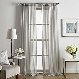Martha Stewart Glacier Rod Pocket Sheer Window Curtain Panels in Silver (Set of 2)