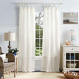 Martha Stewart Laguna Stripe 2-Pack 84-Inch Tie Top Sheer Window Curtain Panels in White