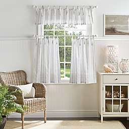 Martha Stewart Laguna Stripe Valance and Window Curtain Tier Pair Set