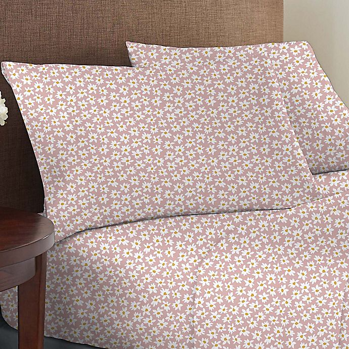 Alternate image 1 for Wild Sage™ Brushed Cotton 225-Thread-Count Daisy Print Twin Sheet Set in Peachskin
