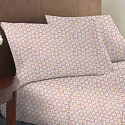 Wild Sage™ Brushed Cotton 225-Thread-Count Daisy Print Twin Sheet Set in Peachskin