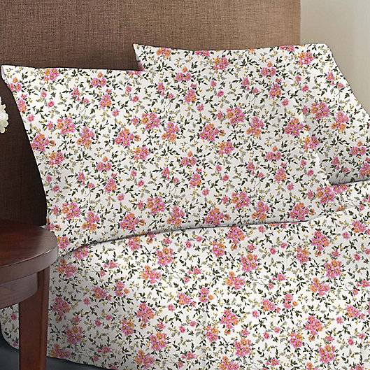 Alternate image 1 for Wild Sage™ Brushed Cotton 225-Thread-Count Garden Floral Twin XL Sheet Set in Coconut Milk