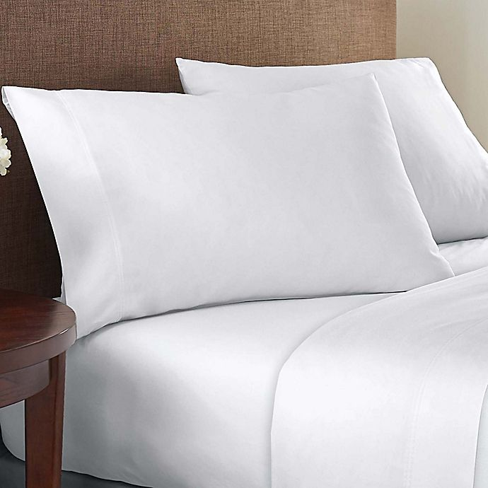 Alternate image 1 for Simply Essential™ Brushed Cotton Blend 225-Thread-Count Twin XL Sheet Set in White