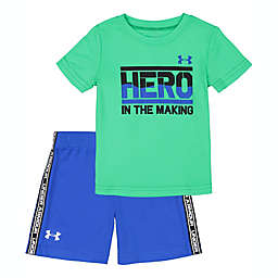 Under Armour® Size 24M 2-Piece Hero in the Making Shirt and Short Set in GreenBlue