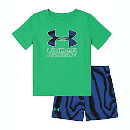 Under Armour® 2-Piece Morph Big Logo Shirt and Short Set in Green