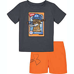Under Armour® Size 24M 2-Piece Peanut Baseball Card T-Shirt and Short Set in Grey