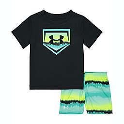 Under Armour Size 24M 2-Piece Ombre Logo T-Shirt and Short Set in Midnight Turquoise
