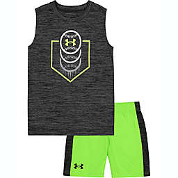 Under Armour® Size 12M 2-Piece Ombre Symbol Shirt and Short Set in Charcoal