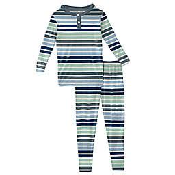 KicKee Pants® 2-Piece Mint Stripe Pajama Set in Blue/Grey