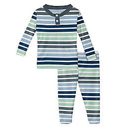 KicKee Pants® Size 6-12M 2-Piece Mint Stripe Pajama Set in Blue/Grey