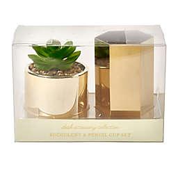 Eccolo™ Gold Metal Pencil Cup and Planter Set