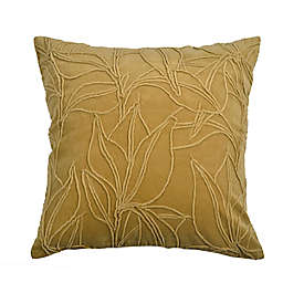 Bee & Willow™ Embroidered Botanical Velvet Square Throw Pillow in Gold